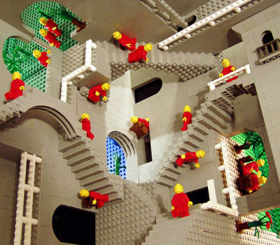 "Escher's ""Relativity"" in LEGO"