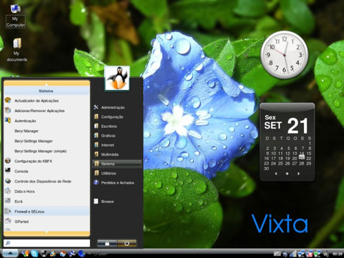 "Start menu under ""Linux Vixta"""