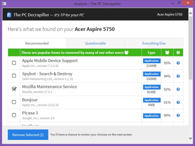 Screenshot - The PC Decrapifier